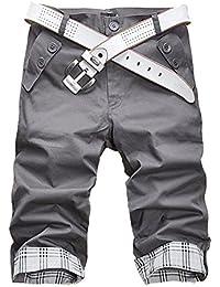 2760e6e7072b5 Minetom Homme Shorts Slim Fit Pantalon Courts Style Décontracté Travailler  Casual Sans Ceinture Mode D