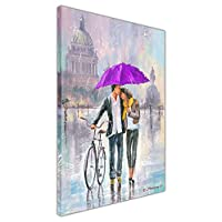 Romantic Couple with Bicycle Holding Blue Umbrella on Framed Canvas Print Wall Art Pictures