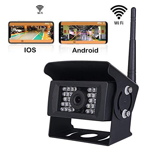AZWE Drahtlose Rückfahrkamera für PKW, LKW, Wohnmobile, Wohnmobile, Iphone, Ipad oder Andriod Geräte, Ip69 Super Night Vision 28 Irs Lights 75 Night Vision