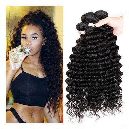 7 A Cheveux Humains Extensions de cheveux brésiliens vierges 100% humains Direct Water Wave 3 Bundle, arôme naturel couleur Noir Total 300 g (100 g chaque) (14 16 18)