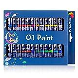 Set de 24 tubos de pintura al óleo Zenacolor - Pack de 24 x 12mL - Pinturas al óleo de calidad superior, no tóxicas - 24 colores únicos y diferentes