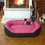 Gorgeous HQ Ultra Soft Dual(Pink-Black) Bed for Dog/Cat with 2 Extra Pillow -XXL