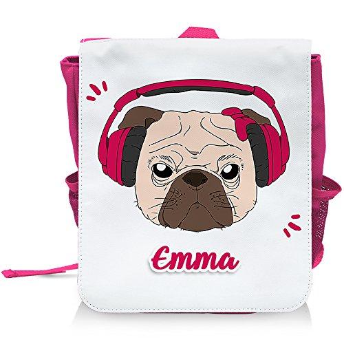 Kinder-Rucksack mit Namen Emma und schönem Motiv - Mops mit Kopfhörer und Schleife - in Pink für Mädchen