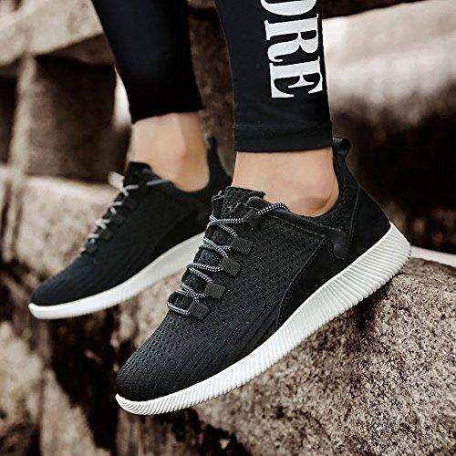 SK Studio Uomo Scarpe da Ginnastica Running Leggere Stringhe Sneakers Scarpe da Corsa Nero