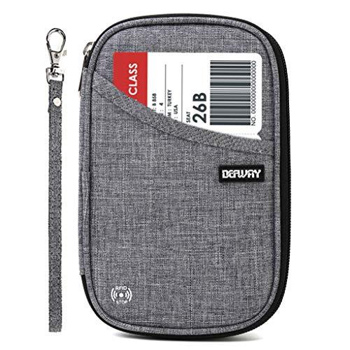 DEFWAY Reisepass Tasche Ausweistasche - Reisepasshülle RFID Passport Holder Tasche für Damen Herren Reisebrieftasche Travel Wallet Organizer für Reisepass Kreditkarte Flugticket(Grau)