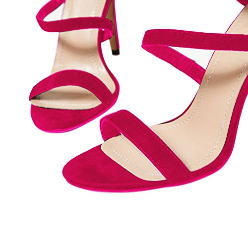 Damen Open Toe Römersandalen High-Heels Stiletto Fellsamt Slingback Rosa