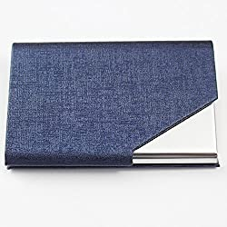 Business Card Holders, Chameiee Womens Mens Business Card Holder Wallet Leather Business Card Organiser Business Card Casesname Card Holdercredit Card Holdersbusiness Card Holder For Men Women (Navy)