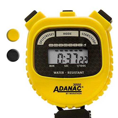 Marathon Adanac 3000Digital-Stoppuhr mit Timer, mit extra großem Display und großen Tasten, wasserabweisend, gelb.