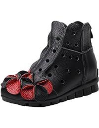 SHOWHOW Damen Retro Stiefelette Blockabsatz Kurzschaft Stiefel Mit Reißverschluss Schwarz 42 EU