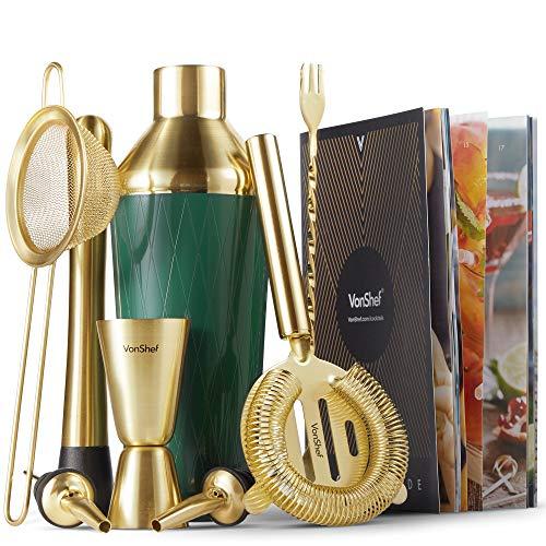 VonShef 9-teiliges Cocktail Set – Grün & Gold gebürstet – Mit Shaker, Stößel, Barlöffel, 25 ml/ 50 ml Messbecher, Hawthorne-Sieb, Julip-Sieb, 2x Flaschenausgießer, Rezeptheft & Ständer