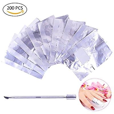 OZUAR 200 Pcs Foil Nail Wraps Remover 1Pcs Cuticle Pusher Nail Tin Foil Aluminum Foil with Lint-Free Cotton Pads Fast Gentle Soak off Removing (Sliver)