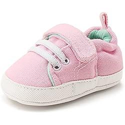 DELEBAO Zapatos Bebé Zapatillas Lona Bebe Suela Blanda Zapatos Recien Nacido Primeros Pasos Botitas para Bebes Niña y Niño (Rosa,6-12 Meses)