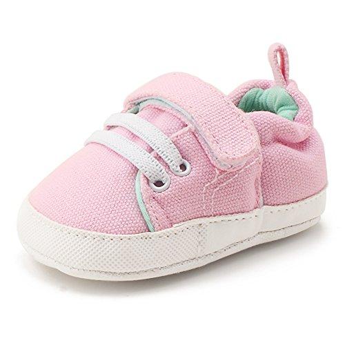 Delebao scarpe neonato calzature per bambini scarpe da ginnastica bambina suola morbida scarpe tela bambina ragazzi e ragazza (rosa,0-6 mesi)