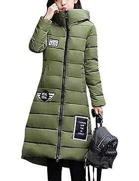 LaoZan Mujer Outerwear Espesar Abrigo largo Abrigo de abrigo de invierno Chaqueta con capucha X-Large Verde
