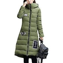 LaoZan Mujer Outerwear Espesar Abrigo largo Abrigo de abrigo de invierno Chaqueta con capucha Medium Verde