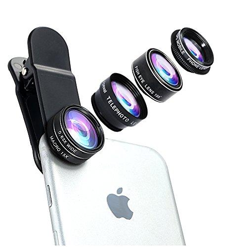 Objektiv Lens Kits(198 Grad Fisheye Objektiv, 0,63X Weitwinkelobjektiv, 15X Makro Objektiv, 2X Teleskop-Lens, CPL Polfilter), mit Clip-on Adapter, für Handys, Smartphones (Teleskop-objektiv)