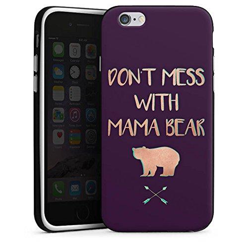 Apple iPhone 5c Silikon Hülle Case Schutzhülle Mama Bär Muttertag Mutter Silikon Case schwarz / weiß