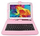 Etui rose + clavier intégré AZERTY pour Samsung Galaxy Tab 4 (SM-T530/T533), Tab A 9,7' (T550) et Tab A 10.1 (2016) T580 tablettes 10.1' - stylet tactile BONUS + Garantie DURAGADGET de 2 ans