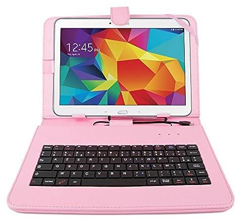 Etui rose + clavier intégré AZERTY pour Samsung Galaxy Tab 4 (SM-T530/T533), Tab A 9,7