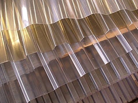 PVC - Lichtplatte Profil 70/18 Trapez - transparent (klar) Stärke 1,2 mm - Nutzbreite: 1045 mm - Lichtdurchlässigkeit 85% - UV - Licht- und witterungsbeständig - Herstellergarantie: 10 Jahre auf Witterungs- u. Lichtbeständigkeit, Hagelschlag bis 10 mm Körnung - Preis: Euro 8,50 m² - Mindestbestellwert Euro 100,00