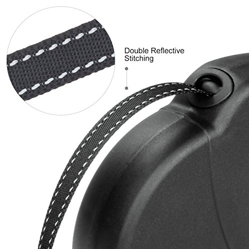 Retractable-Dog-Lead-WINSEE-5M-Extendable-DogPet-LeadsLeash-for-Small-Medium-Dogs-Up-to-20-KG-One-ButtonLock-with-Reflective-Belt-Black