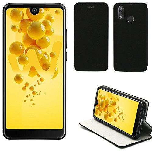 XEPTIO Wiko View 2 Hülle Tasche Leder Schwarz Cover mit Stand - Zubehör Etui View2 Dual Sim Flip Case Schutzhülle Smartphone 2018 (PU Leder, Handytasche Black) Accessories