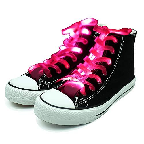 Molylove cordones de los zapatos LED se iluminan con cordones de nylon con 3 modos intermitentes de iluminación para la fiesta nocturna, hip-hop, baile, ciclismo, senderismo (rosa)