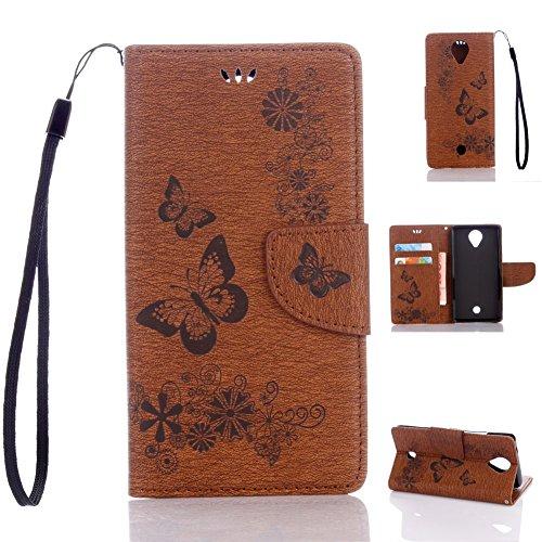 Wiko U Feel Handyhülle Book Case Wiko U Feel Hülle Klapphülle Tasche im Retro Wallet Design mit Praktischer Aufstellfunktion - Etui Braun