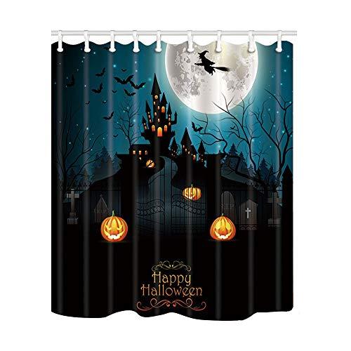 Aliyz Halloween Bad Vorhang Fliegende Hexe mit gruseligen Friedhof und Bauernhaus auf dem Vollmond Polyester Stoff wasserdicht Duschvorhang für Badezimmer 71X71in Duschvorhänge Haken enthalten
