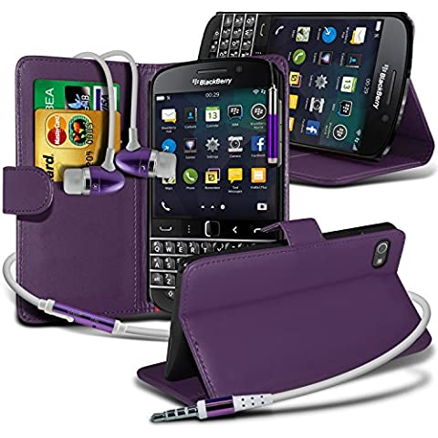 Aventus ( Purple ) Blackberry Q20 Classic custodia, caso, Case Cover Protective Elegant BookStyle PU Leather Wallet Flip With Credit / Debit Card Slot Case Skin Cover With LCD Screen Protector Guard, Panno & Mini penna stilo a scomparsa