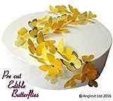 48 x Vorgeschnittene schöne gelbe Schmetterlinge essbares Reispapier/Oblatenpapier Kuchendekoration, Dekoration für Cupcake Kuchen Dessert, für Geburtstag Party Hochzeit Babyparty (S)