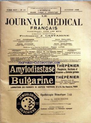 JOURNAL MEDICAL FRANCAIS (LE) [No 10] du 01/10/1936