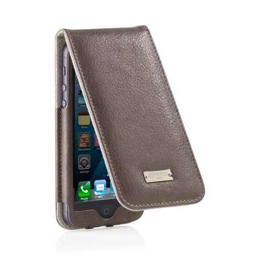 Pipetto iPhone 6 / iPhone 6S Hülle, Apple iPhone 6 / iPhone 6S Plus Hülle Leder Folio Brieftaschen Cover 12 cm schlank + Kartenhalter (Braun) Anthrazit