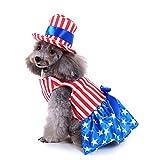Amakunft Hunde-Party-Kostüm, süßes Haustier, Patriotisches Boutique-Festival-Kleid für Weihnachten, interessantes Mode-Outfit mit Hut, Welpen-Outfit