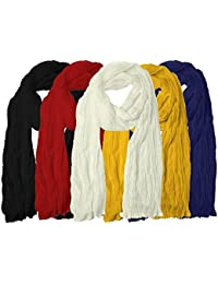 Fabeyo Plain Pure Cotton Soft Touch 2.25 Meter Dupatta/Stoles For Women's (Pack Of 5)-Black,Red,White,Yellow,Navy...