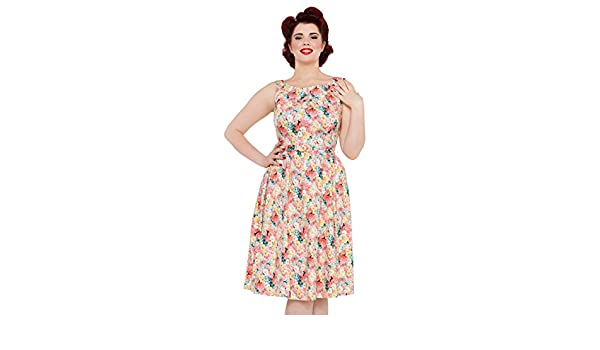 VOODOO VIXEN - Pollyanna 50 s Spring Flower Belted Dress  Amazon.co.uk   Clothing 655ac4602