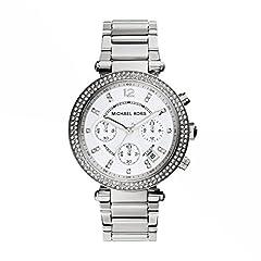 Idea Regalo - Michael Kors Orologio Cronografo Quarzo Donna con Cinturino in Acciaio Inox Parker