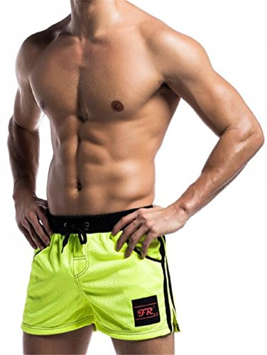 Men's Mesh Comfortable and Breathable Shorts YellowGreen