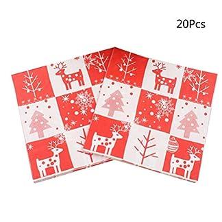 BESTonZON Servilletas de Papel Roja Diseño de Muñeco de Nieve Árbol de Navidad Papá Noel para Decoración del Mesa de Navidad y Partido 20PCS