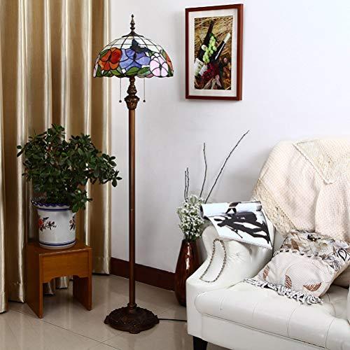 ACHNC 16 Zoll Tiffany Stil LED Stehlampe Dimmbar Mit Fernbedienung, Standleuchte Wohnzimmer Retro Mit Blumen Schmetterlinge Buntglas Lampenschirm, E27 Stehleuchte Vintage Wohnzimmerlampe