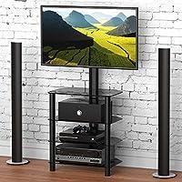 FITUEYES Meuble TV avec Support Télé Cantilever Pivotant et Réglable en Hauteur pour Ecran de 32 à 50 Pouce Plasma LCD LCD avec 4 Etagères de Rangement TW406001MB