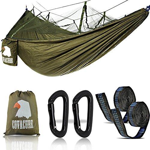 Camping Hamac Set avec Moustiquaire, 2 Sangles D'arbres Carabiners Cordes Double Portable Outdoor...