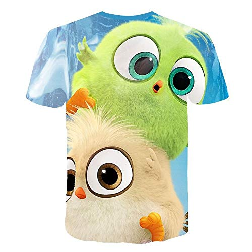 Fowii T-Shirts Herren Damen Ms Neutraler 3D-Druck Tops Kurzärmeliger Rundhalsausschnitt Cool Und Bequemer Baumwolle Locker Polos Angry Bird XL