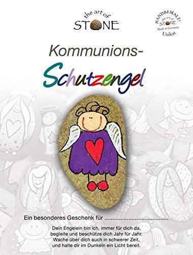 Kommunions Schutzengel (Sie wollen einen anderen Text auf der Karte eingedruckt haben? Bitte kurz per seperater Nachricht angeben) Handbemalter Natur Stein
