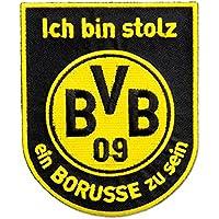 Borussia Dortmund BVB Aufnäher mit Schriftzug, Polyester, Schwarz/Gelb, 11 x 9 x 1 cm