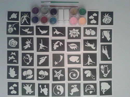 100-filles-pochoir-de-tatouage-pour-les-tatouages-paillettes-art-corporel-10-paillettes-couleurs-fil