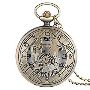 12 Sternbild Astrologie Sternzeichen Retro Taschenuhr Bronze Halskette Anhänger Herren Frauen Hohl Flip Cover Quarz
