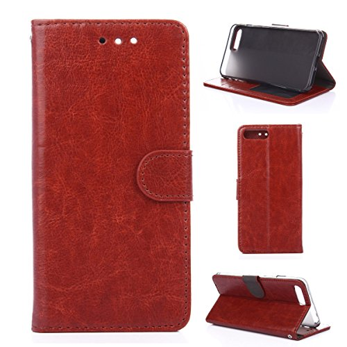 iPhone 7Plus Hülle,Fodlon® Mode Brieftasche mit Karte Schlitze Telefon Schutzhülle -Braun braun