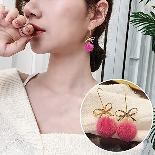 Chwewxi Bow Hair Ball Ohrringe Ohrringe weibliches Temperament Korea einfache Ohrringe schmuck Ohrringe, Rose rot (Hair Rot Bows)