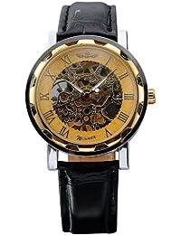 AMPM24caliente mecánico analógico Dial de esqueleto Golden AMPM24deporte cuero reloj de pulsera regalo PMW029